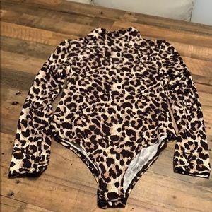 Leopard turtleneck bodysuit